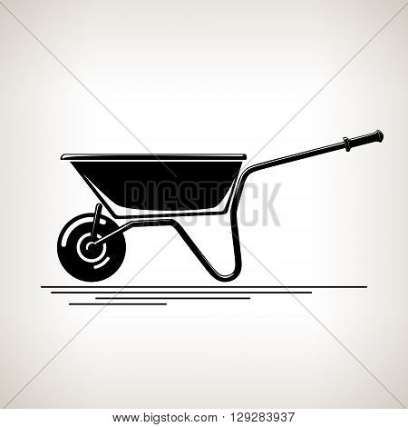 Wheelbarrow, Silhouette a Wheelbarrow on a Light  Background, Agricultural Tool  , Garden and Carpentery  Equipment, Black and White Vector Illustration