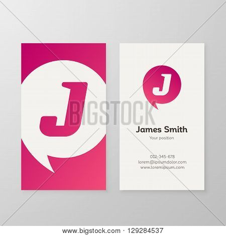 Modern letter J in speech bubble Business card template. Vector business personal card design. Layered editable.