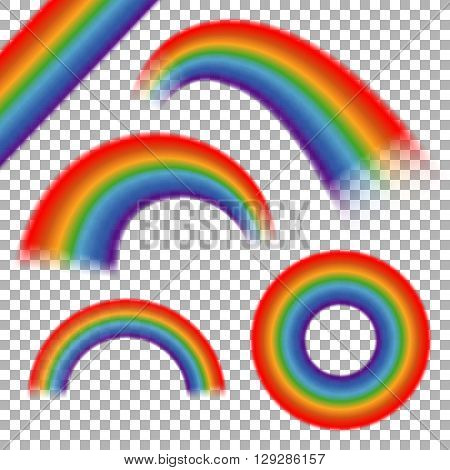 Rainbows vector set on transparent plaid background. Rainbow icon round, decorative rainbow arch, curve rainbow illustration