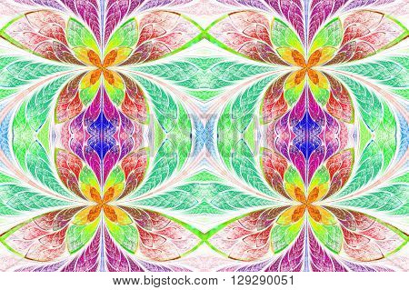 Multicolored symmetrical pattern in stained-glass window style. On light. Computer generated graphics.