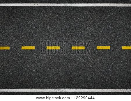 Road top view. Asphalt highway line marks.
