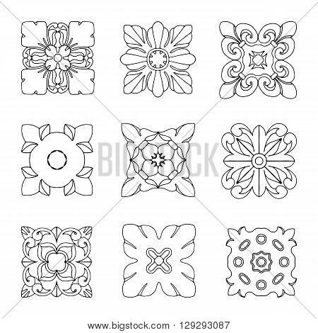 Set of square rosette design elements on white background. Handdrawn vector illustration