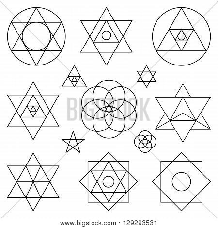 Sacred geometry symbols and icons.Vector outline objects.Vintage Alchemy, religion, philosophy, spirituality, hipster signs and elements.Sacred isolated vector, buddhism, religion, historical set and ethnic shapes