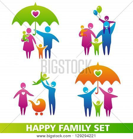 Vector set of family icons. Happy family concepts: father mother daughter and son together