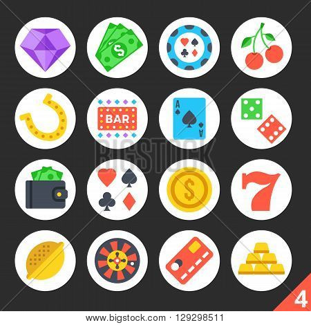 Round flat icons for web sites, mobile apps, web banners, infographics. High quality design illustrations.Gambling, casino, game of chance concepts. Black background. Modern vector icons set 4
