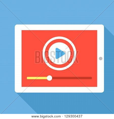 Tablet with video player interface. Play video concept. Flat vector illustration with long shadow isolated on blue background