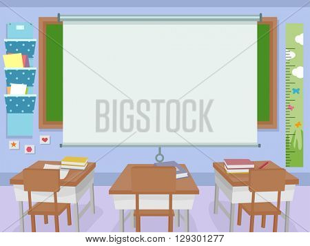 Illustration of a Classroom with a Huge Projector Screen in Front