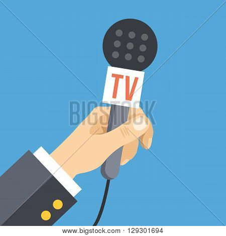 Hand with microphone. News, interview, press conference, live event flat concept. Vector illustration