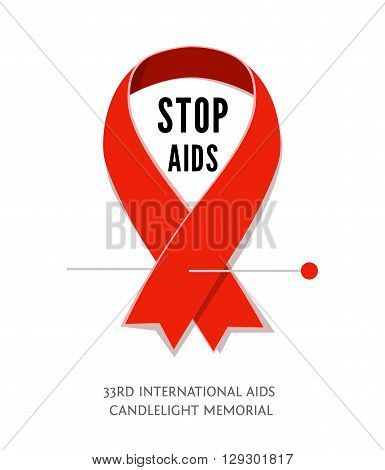 Flat AIDS Awareness red vector ribbon, symbol of AIDS memorial day isolated on white. AIDS ribbon icon with space for text. Red awareness ribbon Stop AIDS.