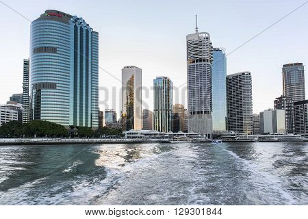 BRISBANE, AUSTRALIA - MAY 7 2016: Brisbane cityscape sunset on the Brisbane river, view from the river ferry.