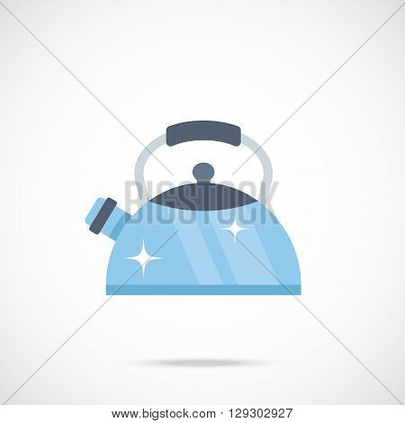 Tea kettle vector icon. Flat design vector illustration