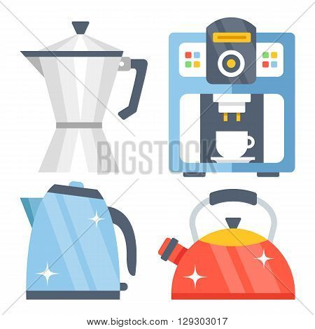 Tea kettle, tea pot, classic vintage aluminum coffee maker and shiny modern coffee machine flat illustration, flat icons set. Colorful kitchen appliances isolated on white background