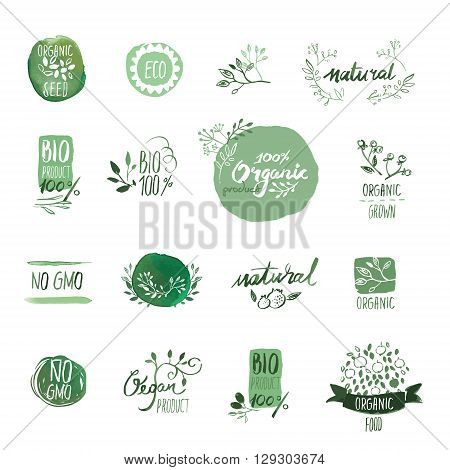 Set of organic food hand drawn watercolor badges and elements. Vector illustrations for organic food and drink, restaurant and organic products.