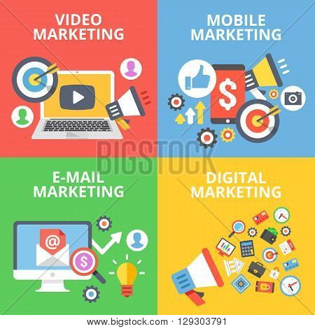Video marketing, mobile marketing, e-mail marketing, digital marketing flat illustration concepts set. Creative flat design for web banners, web sites, infographics. Flat vector illustrations