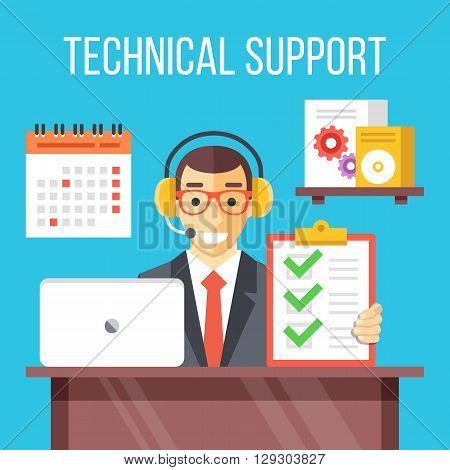 Technical support specialist at work. Call center agent answers customer questions, give professional support to software users. Creative flat design for web banner, web site. Flat vector illustration