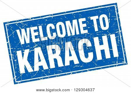 Karachi blue square grunge welcome to stamp