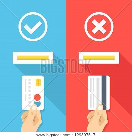 How to insert credit card in atm machine. Right and wrong ways to insert credit cards. Hand with credit cards and atm machine slot. Creative flat design vector illustration. Blue and red backgrounds
