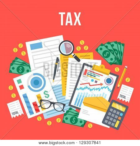Tax calculation, budget calculation, accounting, paperwork concept. Top view. Modern flat design graphic elements for web banners, web sites, infographics. Red background. Creative vector illustration