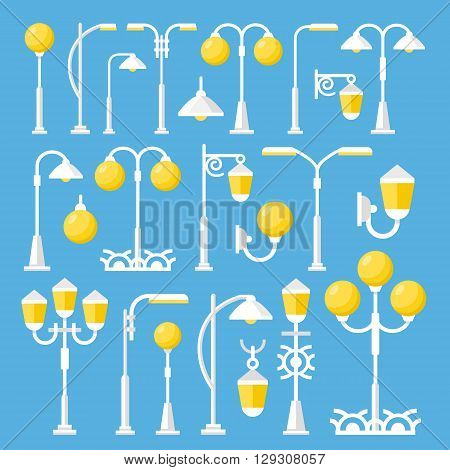 Vector street lanterns set. Vintage and modern street light, outdoor post lights, white lamps, city elements collection. Flat design concept vector illustration isolated on blue background