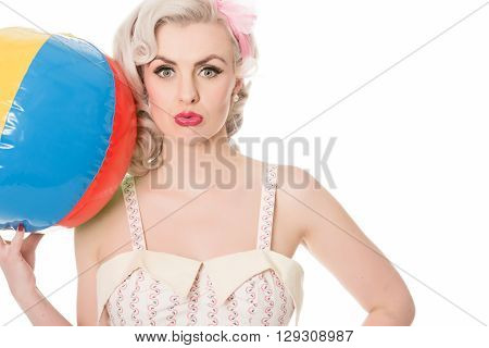 Pouting Blonde With Beachball, Isolated On White, Horizontal Format