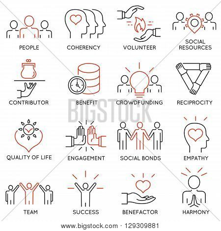 Vector set of 16 thin icons related to altruism benevolence human responsible and beneficence. Altruism Benevolence Icons. Mono line pictograms and infographics design elements - part 2