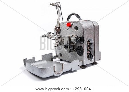 Vintage Motion Picture Film Projector Isolated On A White Background.