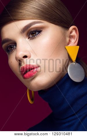 Pretty fresh girl, fashionable image of modern Twiggy with unusual eyelashes and bright accessories. Photos shot in studio poster