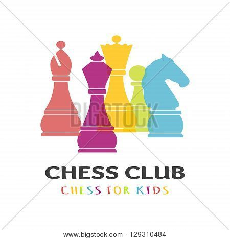 Chess pieces business sign & corporate identity template for Chess club or Chess school. Standard chess pieces vector icon set. Colorful chess vector illustration. Sample text & typography proposal. Editable.