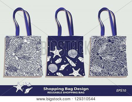 Sea Shell & Coral pattern shopping bag design vector template in indigo. Reusable bag set vector template. Original Shell & Coral patterns are complete, masked. Summer sea beach souvenir. Shell icon. Editable