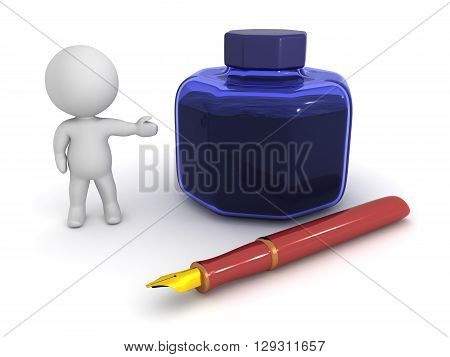 3D Character Showing Fountain Pen And Ink Pot