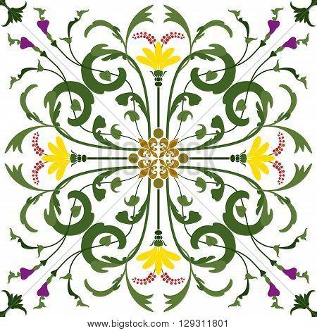 Seamless Pattern Vintage Victorian Collorfully Tile. Vector illustration