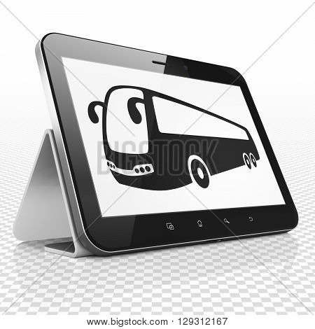 Vacation concept: Tablet Computer with black Bus icon on display, 3D rendering
