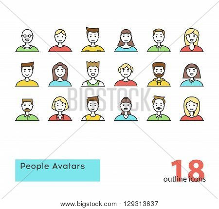 Set of modern outline People Avatars. Colorful. Stock vector.
