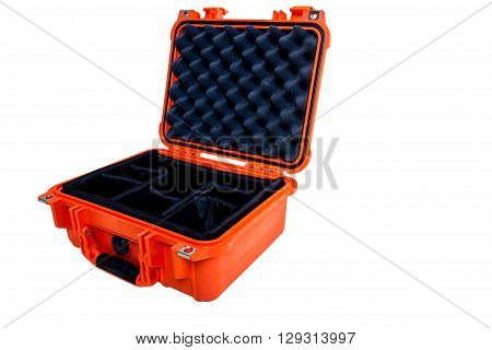 Hard Case Plastic Protect Water Resistant Equipment, Isolated On White