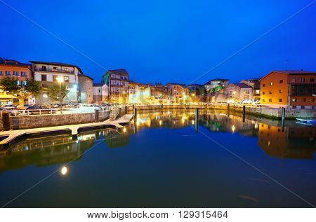 LLANES, SPAIN - AUGUST 19: Night on August 19, 2011 in Llanes: old town and port in Llanes.