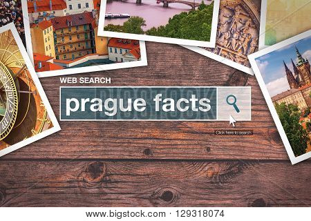 Prague facts - web search bar glossary term on internet.