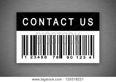 contact us barcode label with shadow on metal background