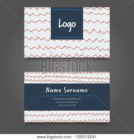 Visit Card. Handdraw Business Card Template Design.