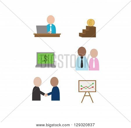 Vector business illustration of finance objects. Economical icon with businessman and chart. Handshake. Business confirmation. Man sitting at desk