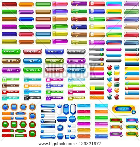 vector illustration of collection of colorful blank web buttons for website or app