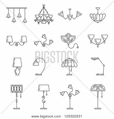 Outline lamp icon set, thin line style, flat design. Lamp vector illustration: wall lamp, desk lamp, floor lamp, chandelier, decorate lamp