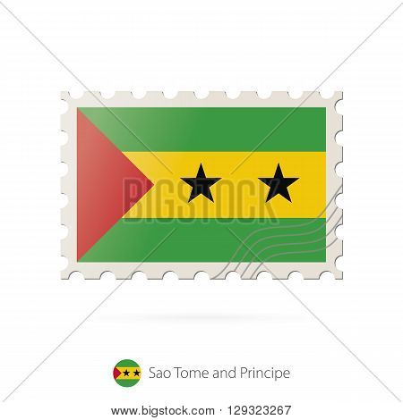 Postage Stamp With The Image Of Sao Tome And Principe Flag.