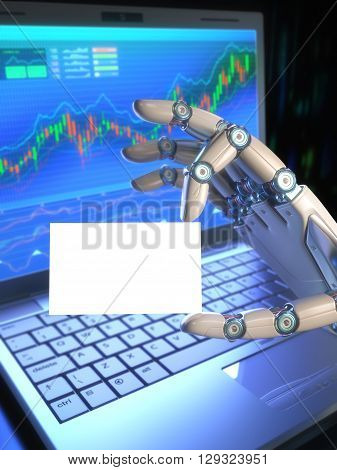Concept image of software (Robot Trading System) used in the stock market. The robot hand holding a blank card your business text or logo on the card. Clipping path included.