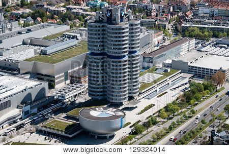 Munich, Germany, 24 April 2016:BMW Headquarters in Munich Germany. BMW Headquarters (German: BMW-Vierzylinder