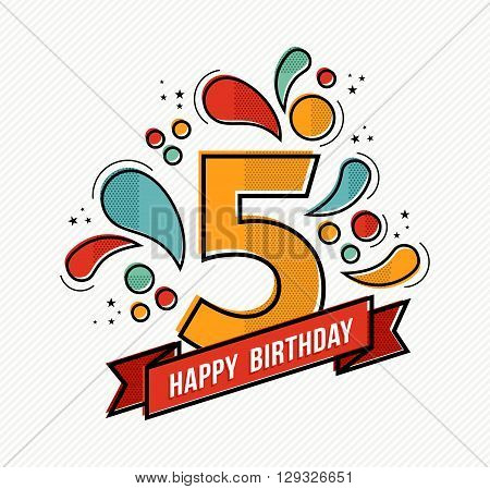Colorful Happy Birthday Number 5 Flat Line Design
