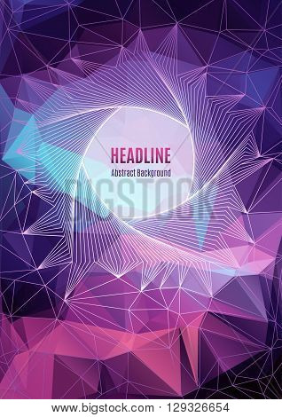 Modern colorfull geometric polygonal posters A4, future technology concept, pentagon line art design, shapes 3d. Typography abstract background for banners, web site, brochures, flyers, business cards