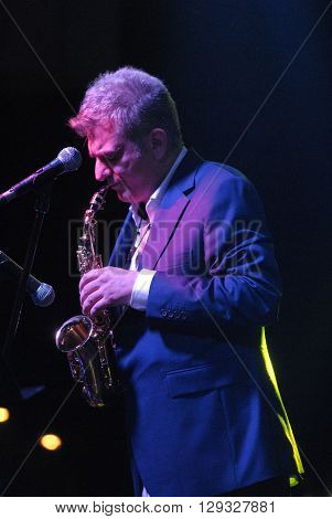 ANKARA/TURKEY-MAY 7, 2016:  Saxophonist Kursat Basar at the stage of Next Level AVM during the 20. International Ankara Jazz Festival. May 7, 2016-Ankara/Turkey