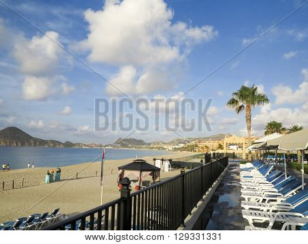 CABO SAN LUCAS, MEXICO - AUGUST 8, 2014: Unidentified people at RIU Santa Fe Hotel at Cabo San Lucas Mexico. It is a 5 star hotel at Baja California with 902 guest rooms.