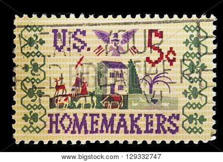 United States Used Postage Stamp Showing Homemade Stitchwork