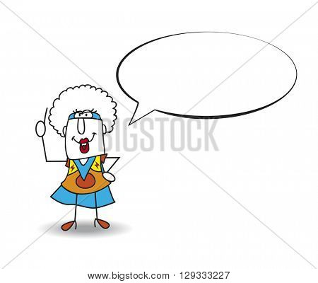 Speech of Superhero Black Mamba. This Afro girl is a superhero. She is talking. Write your text in the bubble speech